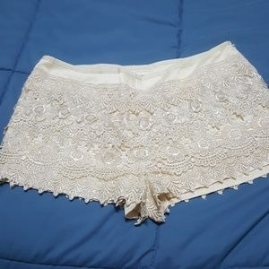 Lace shorts. Off white. Worn once.